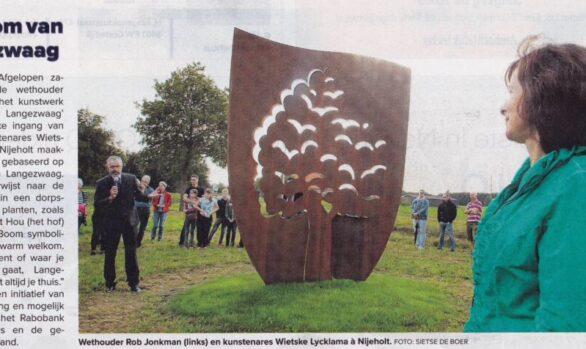 Cortenstaal beeld, De Boom van Langezwaag - kunstproject - kunstenaar Wietske Lycklama à Nijeholt