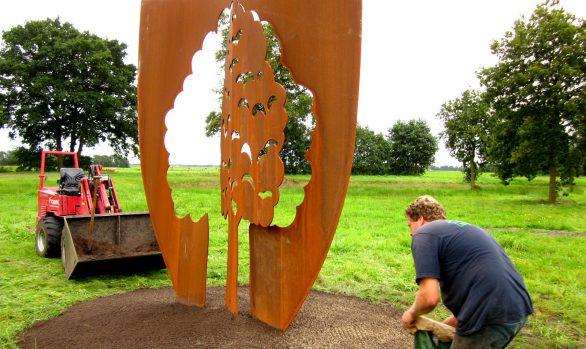 Cortenstaal beeld, De Boom van Langezwaag, kunstproject, kunstenaar Wietske Lycklama à Nijeholt