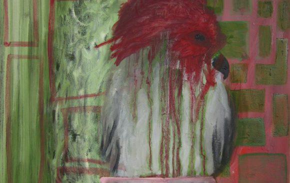 Vreemde vogel, kunstschilderij dieren, Vogels huilen niet, hedendaagse schilderkunst, kunstenaar Wietske Lycklama à Nijeholt