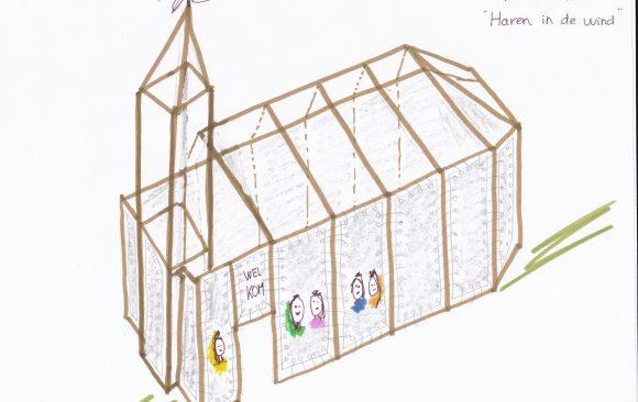 Kunstinstallatie tekening Haren-in-de-wind, LF2018, kunstenaar Wietske Lycklama à Nijeholt, Monique Jansma