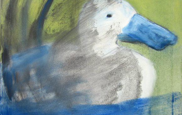 Smerige eend, kunstschilderij dieren, hedendaagse schilderkunst, kunstenaar Wietske Lycklama à Nijeholt