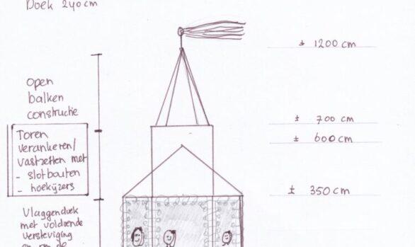 Haren in de wind-tekening-kerk, Under de toer, LF2018, kunstenaar Wietske Lycklama à Nijeholt