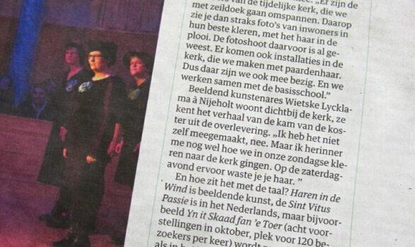 NRC-cultureel-supplement-Haren-in-de-Wind-beeldende-kunst, kunstenaar Wietske Lycklama à Nijeholt, LF2018, Under-de-toer