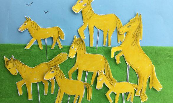 Paardjes-tekening-Wietske, Haren-in-de-wind, Under de toer, LF2018, kunstenaar Wietske Lycklama à Nijeholt