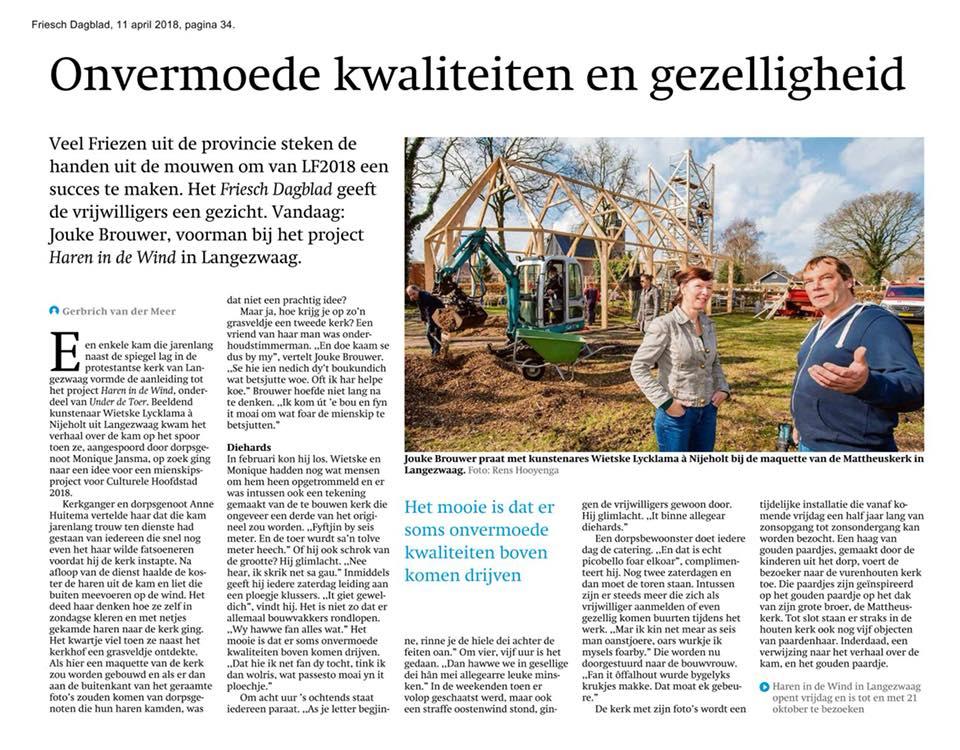 webversie Friesch dagblad, haren-in-de-wind-kunstinstallatie-begraafplaats-kunstenaar Wietske Lycklama à Nijeholt