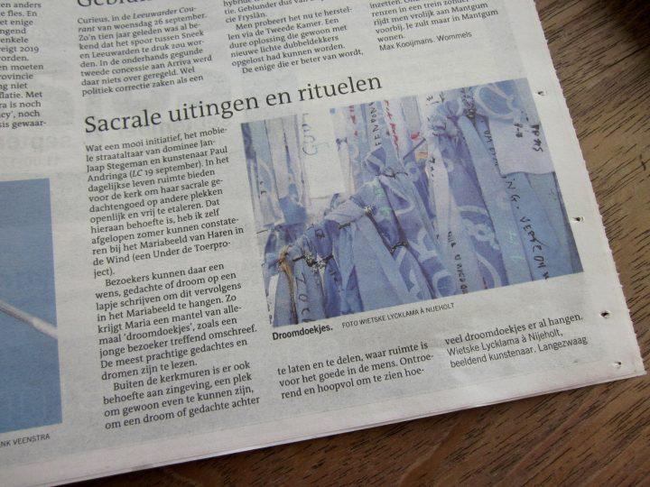 LF2018-Haren-in-de-Wind, Sacrale uitingen en rituelen, snelwegkerk, autobahnkirche, kunstinstallatie, kunstenaar Wietske Lycklama à Nijeholt Haren-in-de-Wind-droomdoekjes