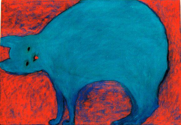 Blauwe kat, dierenkunst, hedendaagse kunst, kunstenaar Wietske Lycklama à Nijeholt