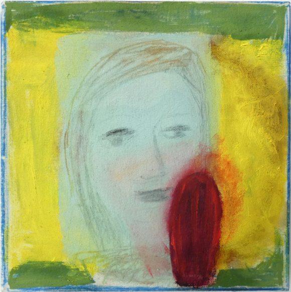 In vuur en vlam, zelfportret, olieverfschilderij, hedendaagse schilderkunst, kunstenaar Wietske Lycklama à Nijeholt