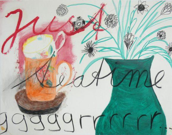 Just teatime, Bloementekening, hedendaagse kunst, kunstenaar Wietske Lycklama à Nijeholt