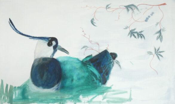 Kievit, lapwing, vogel, bird, kunstschilderij dieren, hedendaagse schilderkunst, kunstenaar Wietske Lycklama à Nijeholt