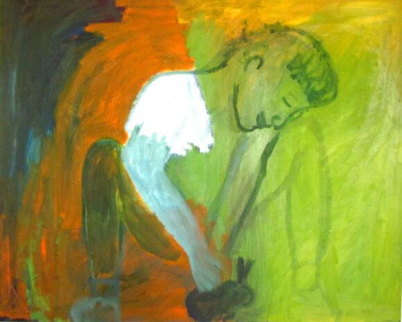 Landschap met meisje, Landelijke kunst, hedendaagse schilderkunst, kunstenaar Wietske Lycklama à Nijeholt