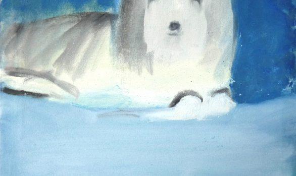 Remmend hondje, kunstschilderij dieren, hedendaagse schilderkunst, kunstenaar Wietske Lycklama à Nijeholt