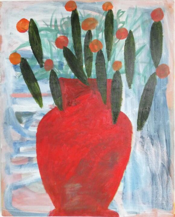 Rode vaas, bloemen schilderij, hedendaagse schilderkunst, kunstenaar Wietske Lycklama à Nijeholt