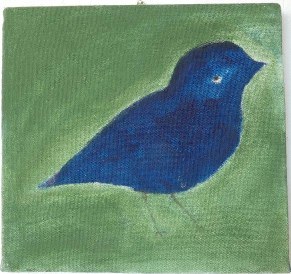 Sad bird, olieverfschilderij, kunstenaar Wietske Lycklama à Nijeholt