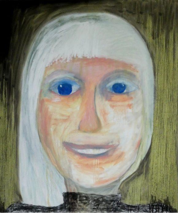 Selfie, zelfportret, hedendaagse schilderkunst, figuratief schilderij, kunstenaar Wietske Lycklama à Nijeholt