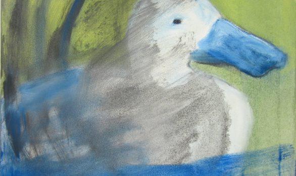 Smerige eend, olieverfschilderij, kunstschilderij dieren, hedendaagse schilderkunst, kunstenaar Wietske Lycklama à Nijeholt