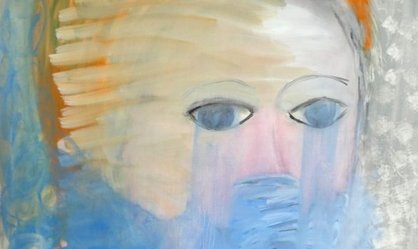 Try to say, portret schilderij, figuratieve kunst, zelfportret, hedendaagse schilderkunst, kunstenaar Wietske Lycklama à Nijeholt