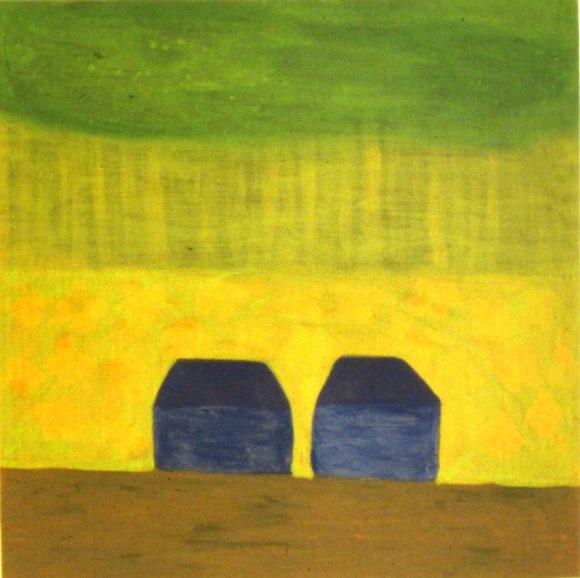 Twee huisjes, Landelijke kunst, hedendaagse schilderkunst, kunstenaar Wietske Lycklama à Nijeholt