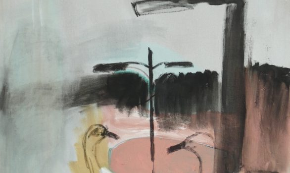 Twee zwanen, olieverfschilderij, figuratieve schilderij, dieren kunst, kunstschilderij dieren, hedendaagse schilderkunst, kunstenaar Wietske Lycklama à Nijeholt