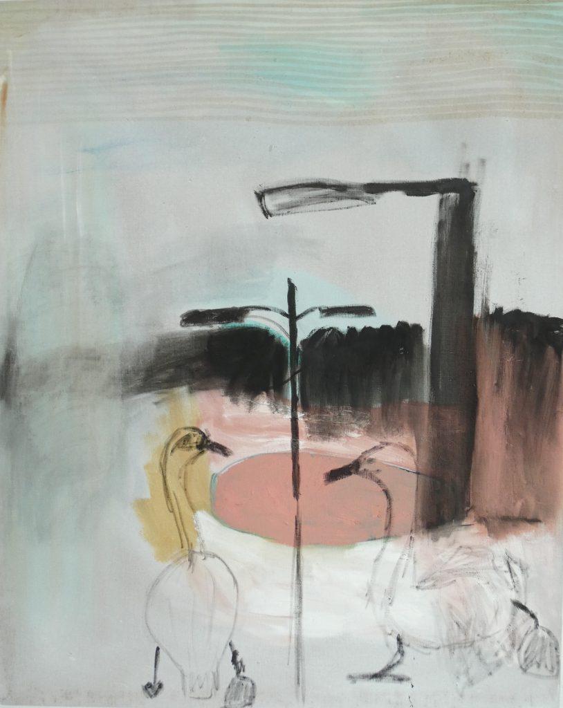 Twee zwanen, Dieren kunst, kunstschilderij dieren, hedendaagse schilderkunst, kunstenaar Wietske Lycklama à Nijeholt