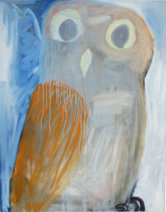 Uilskuiken, Uil, kunstschilderij dieren, figuratief schilderij, groot vanvas schilderij, Vogels huilen niet, hedendaagse schilderkunst, kunstenaar Wietske Lycklama à Nijeholt