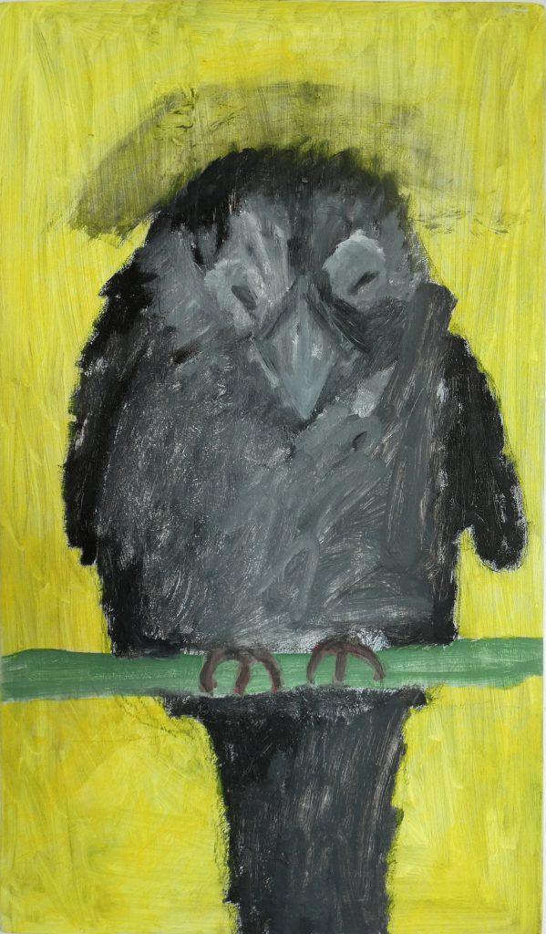 Au kauw kunstschilderij dieren, Vogels huilen niet, hedendaagse schilderkunst kunstenaars, Wietske Lycklama à Nijeholt