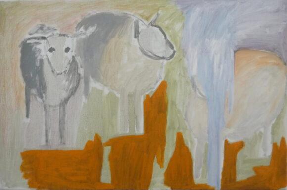 Schapen-in-de-mist, dieren kunst, figuratief schilderij, hedendaagse schilderkunst, kunstenaars, Wietske Lycklama à Nijeholt
