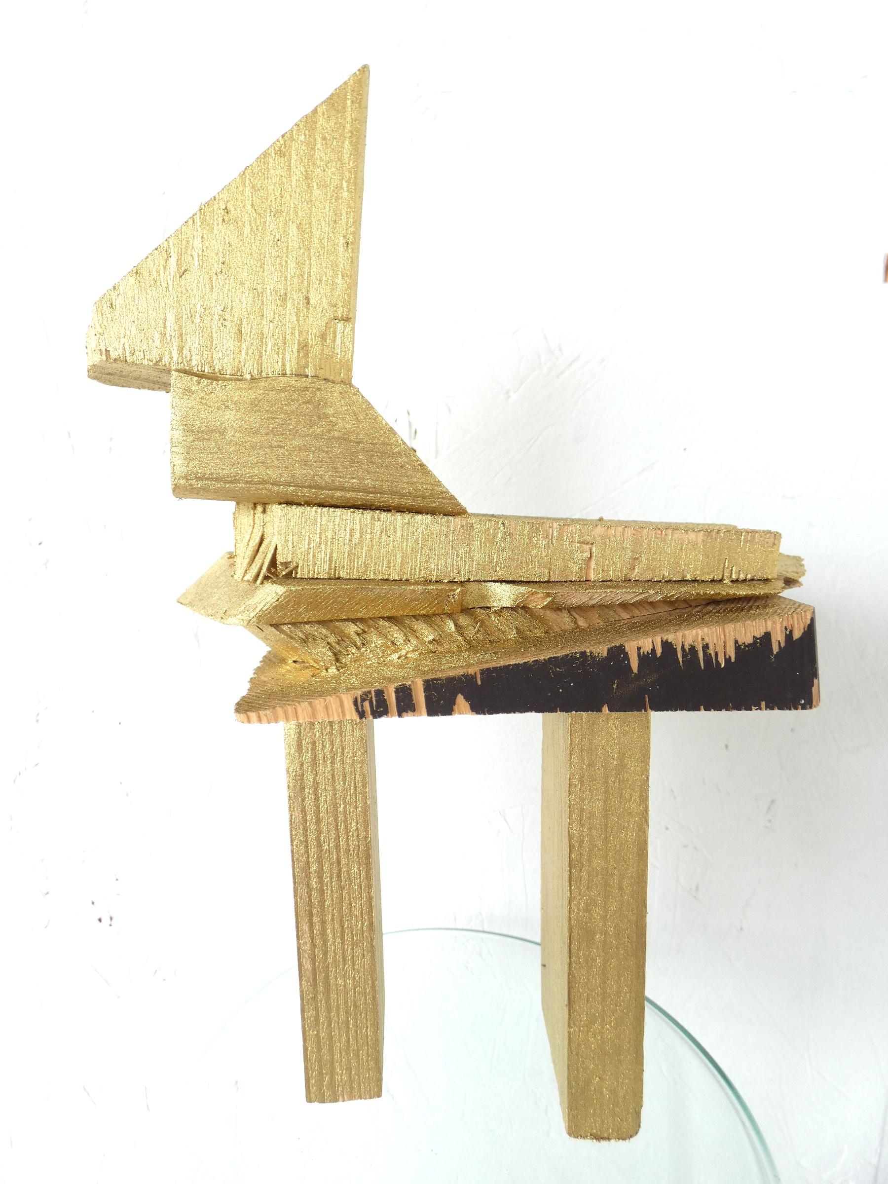 Bling bling paardje kunstbeeld, horse, kunstbeeld, artwork, artlovers, hout, goud, kunst kopen, mixed media, sculptuur, kunstenaar Wietske Lycklama à Nijeholt