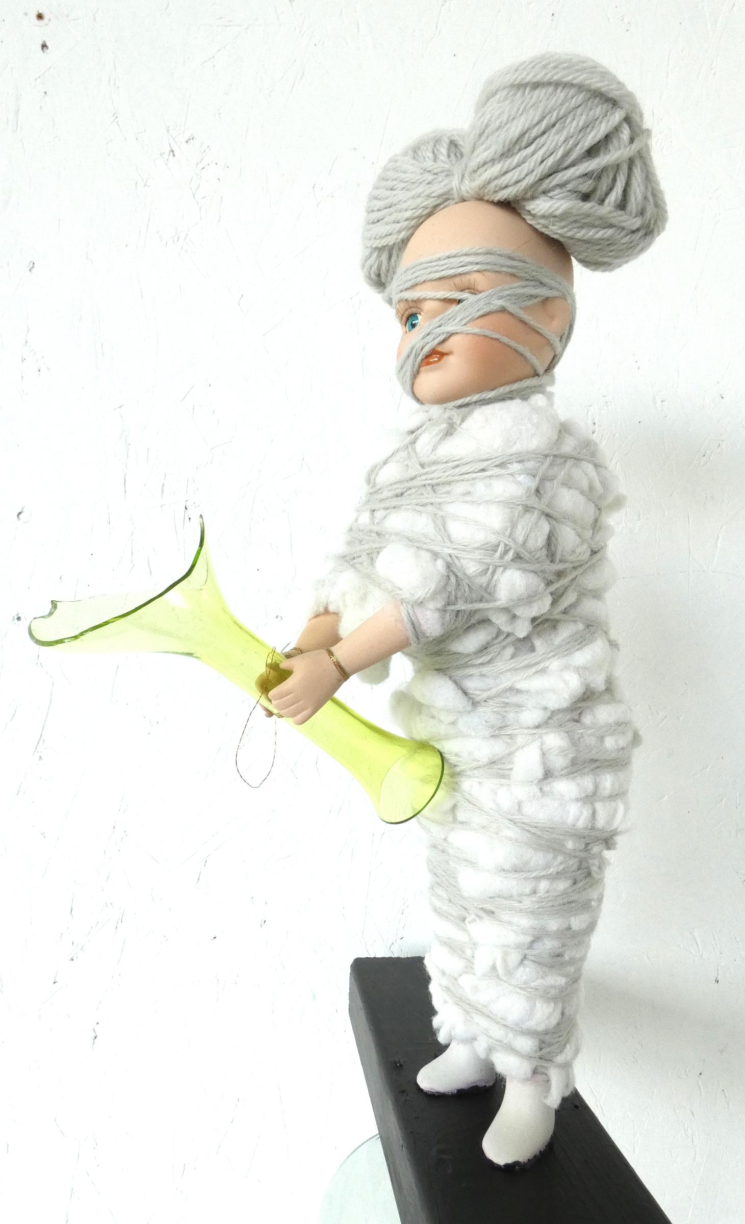 Wolf -in-schaapskleren-kunstbeeld, ruimtelijk werk, textielkunst, textiel art, artwork, dutchartist, kunstenaar Wietske Lycklama à Nijeholt