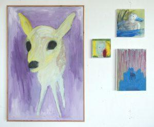 Hedendaagse schilderkunst, olieverfschilderijen, Ree, In vuur en vlam, Smerige eend, Oppassen geblazen, kunstenaar Wietske Lycklama à Nijeholt