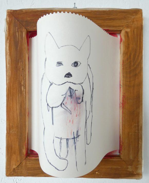 Kat en muis, dieren kunst, cat with mouse, tekening op papier, houten lijst, hedendaagse kunst Wietske Lycklama à Nijeholt