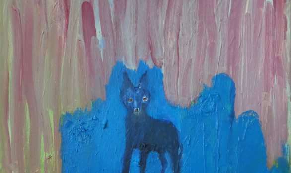 Oppassen-geblazen, kunstschilderij dieren, blauwe vos, kleurrijk olieverfschilderij, hedendaagse schilderkunst, kunstenaar Wietske Lycklama à Nijeholt