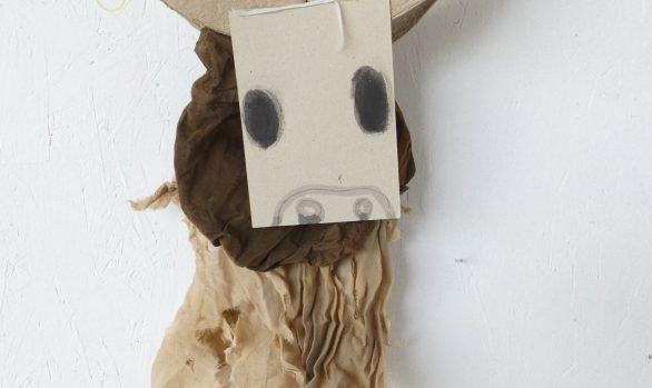 Stiertje, Little bull, vodden, kunst aan de wand, mixed media, hedendaagse kunst, Wietske Lycklama à Nijeholt