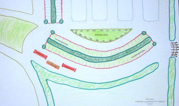 Begraafplaats Langezwaag tekening ontwerp uitbreiding begraafplaats met urnenmuren, urnengraven en strooiveld. Ontwerp Wietske Lycklama à Nijeholt