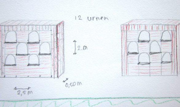 Urnenmuur tekening uitbreiding begraafplaats Langezwaag, ontwerp Wietske Lycklama à Nijeholtg