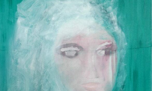 Groen portret, portret in groen, green portrait, zelfportret, self portraitoilpainting, duchart, modernart, figurative, artist Wietske Lycklama à Nijeholtt