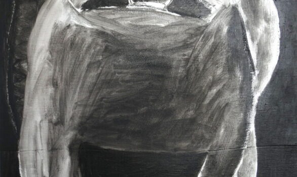 Zwarte hond, Black dog, schilderij dieren, kunstschilderij dieren, oilpainting, figurative art, contemporary art, dutch art, painting animal, dutch artist Wietske Lycklama à Nijeholt